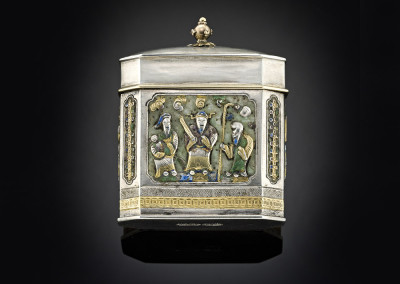Antique Chinese silver container decorated with gold and enamel decoration