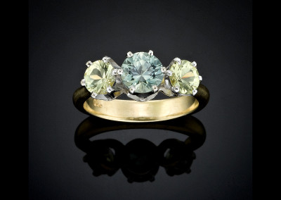 Green and yellow sapphire ring in 18ct white and yellow gold
