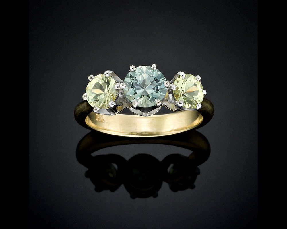 Green and Yellow Sapphire Ring