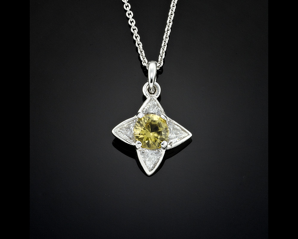 Heliodor Beryl and Diamond Pendant