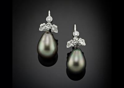 Tahitian black pearl drops with floriated diamond set decoration