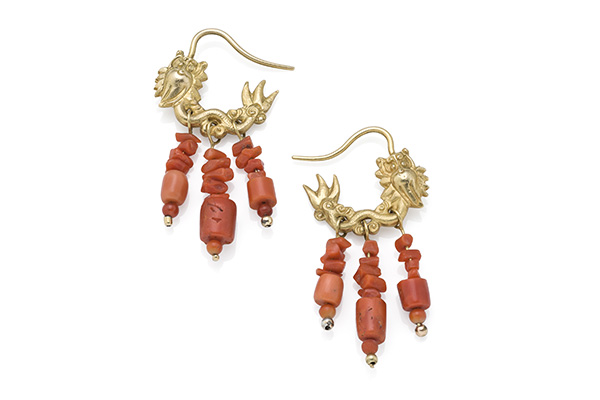 Chinese Dragon earrings in 18ct gold with genuine red coral bead drops