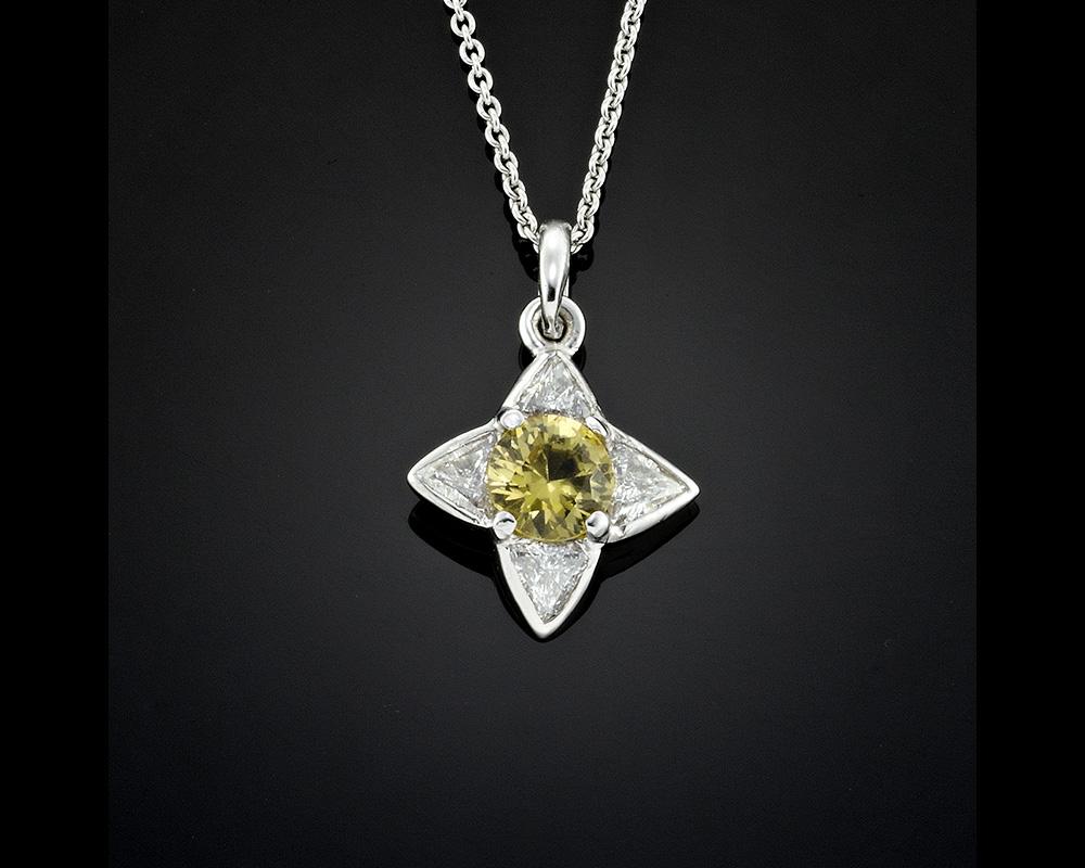 Heliodor Beryl and Diamond Pendant